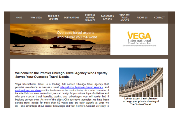 Portfolio. Rebranding After a Strategic Shift - Strategic Planning - Vega Travel website